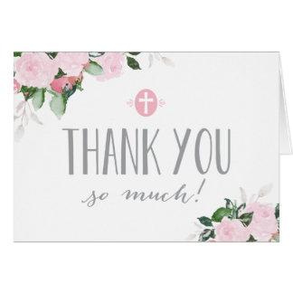 Religiosos blancos de las floraciones florales le tarjeta pequeña