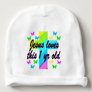 RELIGIOUS 1 YEAR OLD BIRTHDAY DESIGN BABY BEANIE