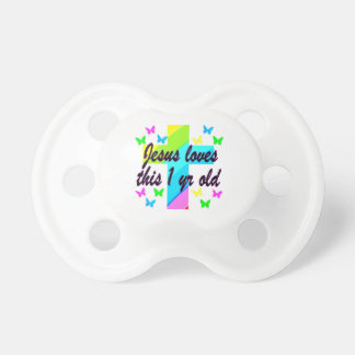 RELIGIOUS 1 YEAR OLD BIRTHDAY DESIGN PACIFIER