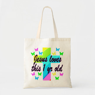 RELIGIOUS 1 YEAR OLD BIRTHDAY DESIGN TOTE BAG