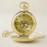 """Religious 50th Wedding Anniversary Pocket Watch<br><div class=""""desc"""">A Digitalbcon Images Design featuring a satin soft gold color and design theme with a variety of custom images, shapes, patterns, styles and fonts in this one-of-a-kind &quot;Religious Golden 50th Wedding Anniversary&quot; Pocket Watch. This soft and satiny golden design comes complete with customizable text lettering to suit your own special...</div>"""