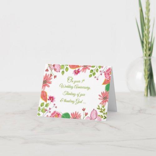 Religious 5th Wedding Anniversary Flowers Card