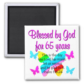 RELIGIOUS 65TH BIRTHDAY BUTTERFLY DESIGN MAGNET
