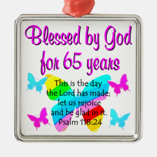RELIGIOUS 65TH BIRTHDAY BUTTERFLY DESIGN METAL ORNAMENT