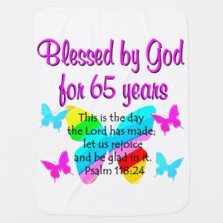 RELIGIOUS 65TH BIRTHDAY BUTTERFLY DESIGN STROLLER BLANKET