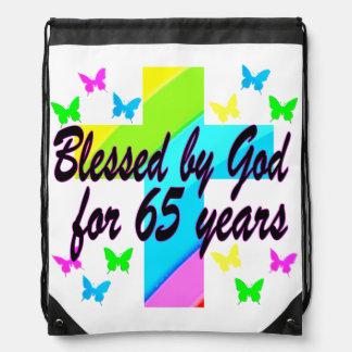 RELIGIOUS 65TH BLESSED BY GOD DESIGN DRAWSTRING BAG