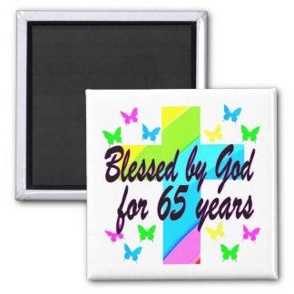 RELIGIOUS 65TH BLESSED BY GOD DESIGN MAGNET