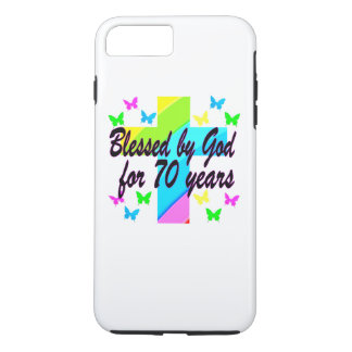 RELIGIOUS 70TH BIRTHDAY CROSS DESIGN iPhone 8 PLUS/7 PLUS CASE