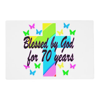 RELIGIOUS 70TH BIRTHDAY CROSS DESIGN PLACEMAT