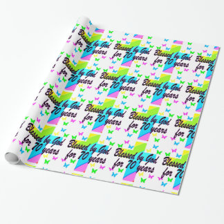 RELIGIOUS 70TH BIRTHDAY CROSS DESIGN WRAPPING PAPER