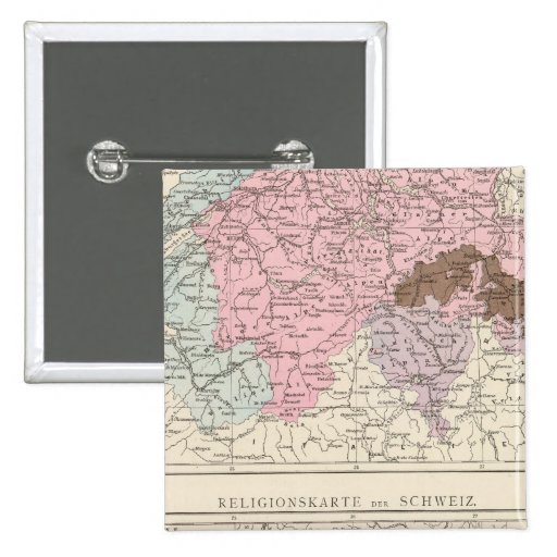 Religious and Linguistic Map of Switzerland Pinback Button