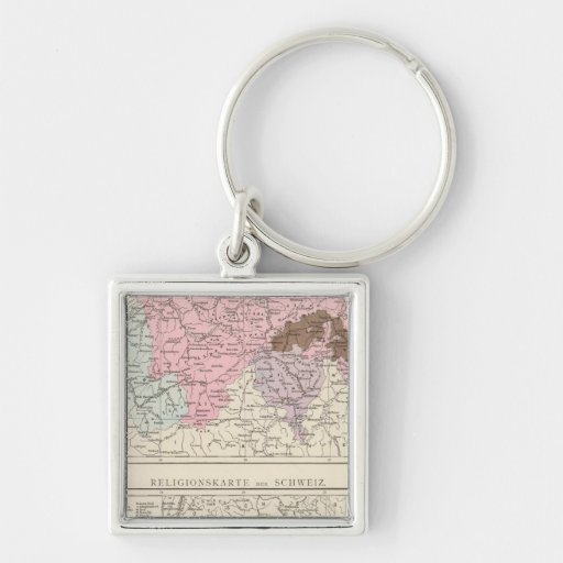 Religious and Linguistic Map of Switzerland Keychains