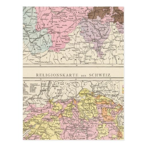 Religious and Linguistic Map of Switzerland Postcard
