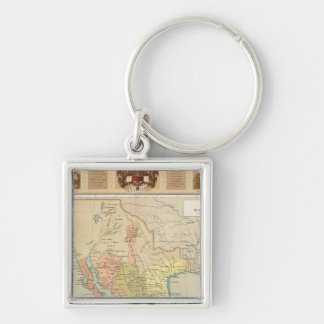 Religious and Secular Figures of Mexico Silver-Colored Square Keychain