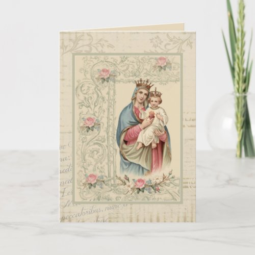 Religious Blessed Virgin Mary Vintage Card