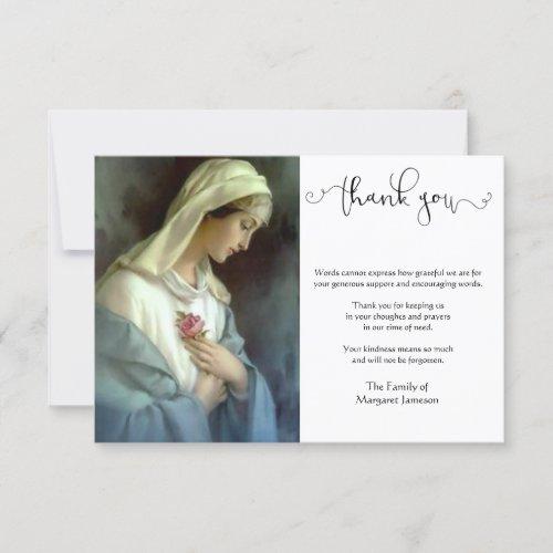 Religious Catholic Virgin Mary Condolence Thank You Card