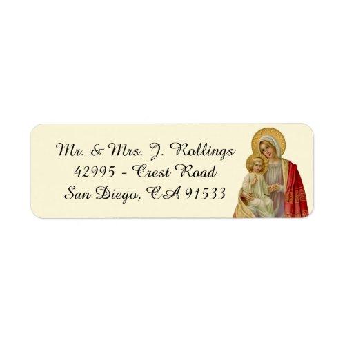 Religious Catholic Virgin Mary Jesus Vintage Label