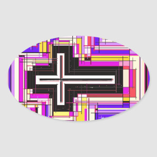 religious christian cross oval sticker