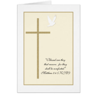 Religious Christian Sympathy Card -- Cross & Dove