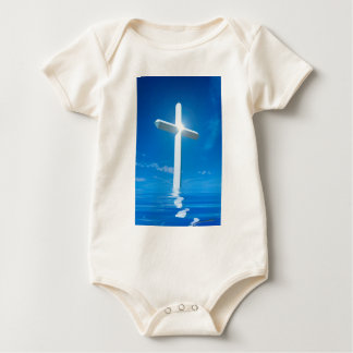 Religious Christianity White Cross Blue Water Baby Bodysuit