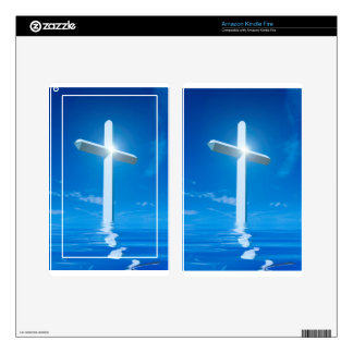 Religious Christianity White Cross Blue Water Kindle Fire Decals