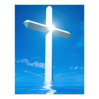 Religious Christianity White Cross Blue Water Letterhead