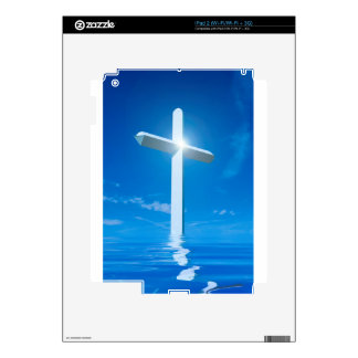 Religious Christianity White Cross Blue Water Skin For iPad 2