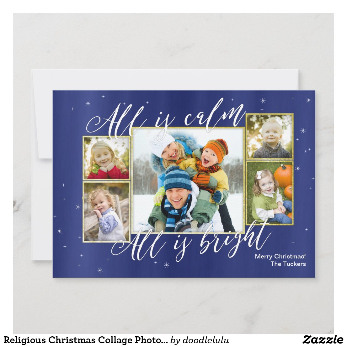 Religious Christmas Collage Photo Card, Blue Gold Holiday Card