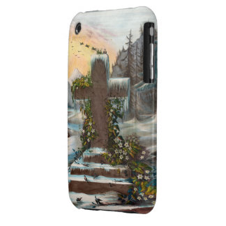 Religious Christmas Cross in Winter iPhone 3 Case-Mate Case
