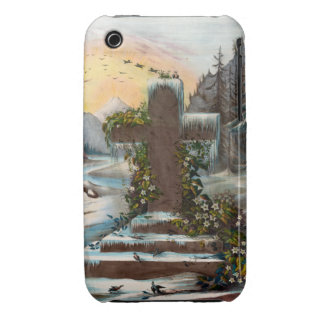 Religious Christmas Cross in Winter Case-Mate iPhone 3 Case
