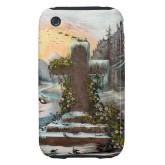 Religious Christmas Cross in Winter iPhone 3 Tough Case