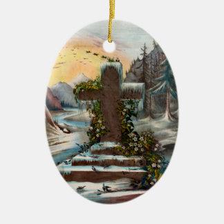 Religious Christmas Cross in Winter Ceramic Ornament