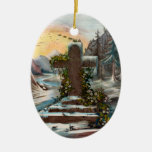 Religious Christmas Cross in Winter Double-Sided Oval Ceramic Christmas Ornament