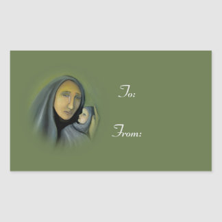 Religious Christmas Gift Tags Nativity To:  From: Rectangular Sticker