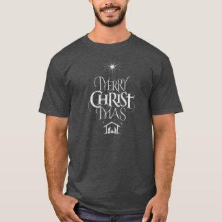 Religious Christmas Gray Chalkboard Jesus Christ T-Shirt