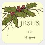 Religious Christmas, Jesus, Holly, Original Art Square Sticker