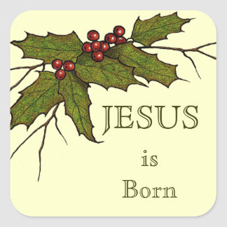 Religious Christmas, Jesus, Holly, Original Art Square Sticker