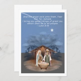 Religious Christmas Nativity Scene and Scripture Holiday Card