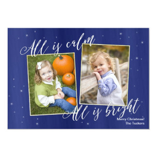 Religious Christmas Photo Card, Navy Blue Gold Card