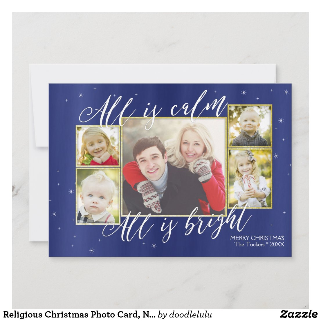 Religious Christmas Photo Card, Navy Blue Gold Hol Holiday Card