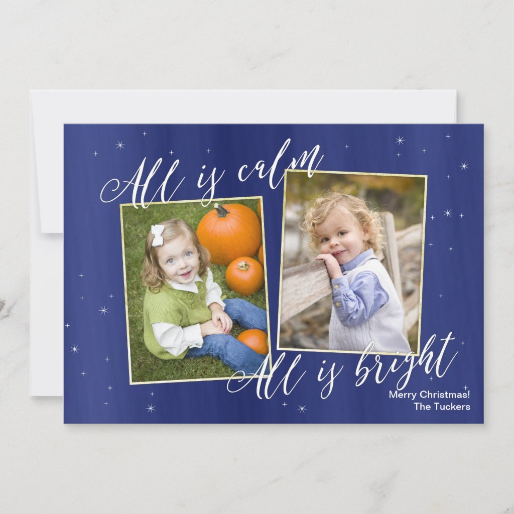 Religious Christmas Photo Card, Navy Blue Gold Holiday Card