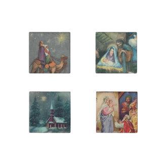 Religious Christmas Vintage Scenes Stone Magnets