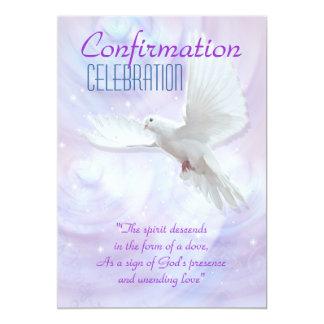 Religious confirmation dove 5x7 paper invitation card