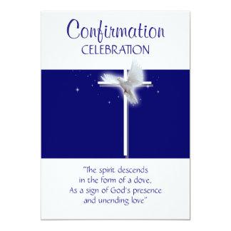 Religious confirmation dove boys blue 5x7 paper invitation card