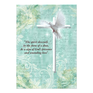 Religious confirmation dove custom invitations