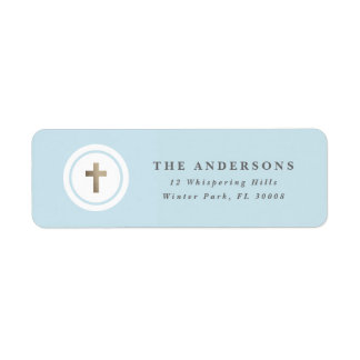Religious cross faux foil return address label