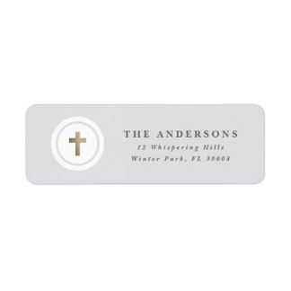 Religious cross faux foil return address label