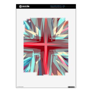 Religious cross starburst decal for the iPad 2
