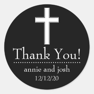 Religious Cross Thank You Labels (Black / White) Sticker