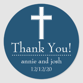 Religious Cross Thank You Labels (Navy Blue/White) Classic Round Sticker